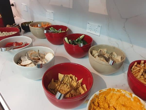 Vegetables and dips in Qantas Business Class Lounge Melbourne (Domestic)