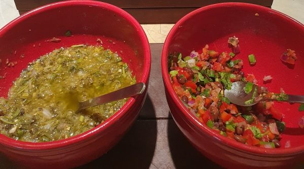 Tomatilla Salsa and Tomato, Capsicum and Kidney Bean Salsa