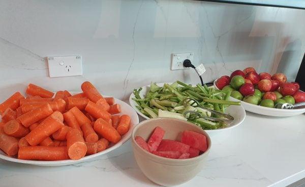 Juice bar fruits and vegetables = Qantas Business Class Lounge Melbourne