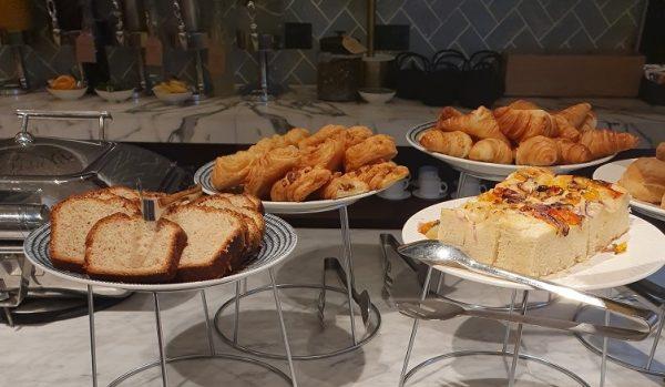 Banana bread, croissants, Danish pastries and Foccacia bread - Qantas London Lounge
