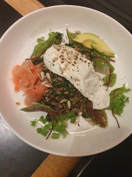 Warm Kale and Sorrel Salad with avocado, quinoa, poached egg, sesame and linseed