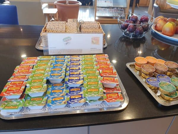 Some of the cheeses on offer in the BA lounge at Berlin Tegel