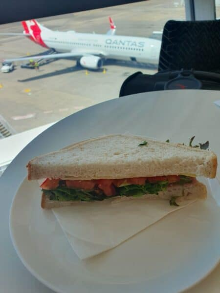 Sandwich in Qantas Business Class Lounge Sydney Domestic T3
