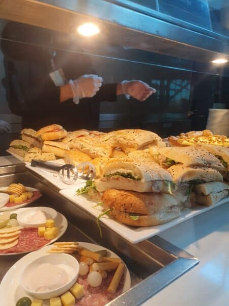 Sandwiches in the Qantas Business Class Lounge Sydney Domestic T3