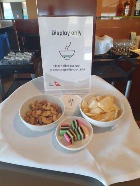 Qantas Club Adelaide bar snacks