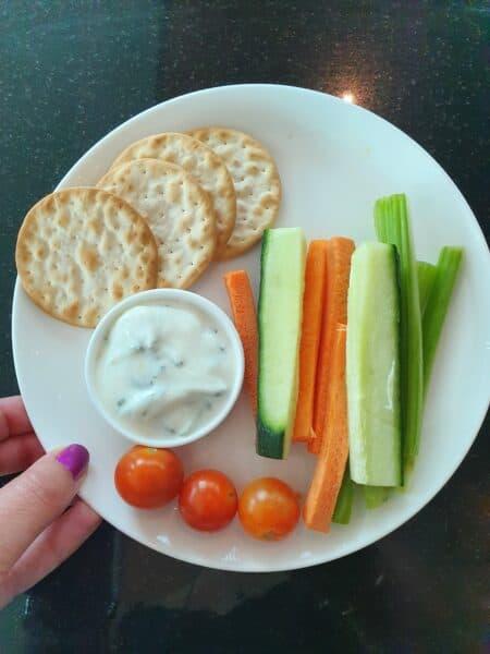 Qantas Business Lounge Melbourne Domestic vegetable stick plate