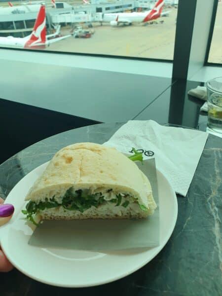 Qantas Business Lounge Melbourne Domestic Chicken Turkish Bread