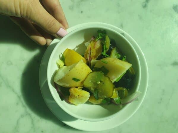 Qantas Business Lounge Melbourne Domestic potato salad