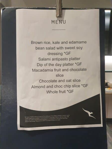 Qantas Business Lounge Melbourne Domestic menu