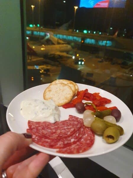 Qantas Business Lounge Melbourne Domestic antipasto plate