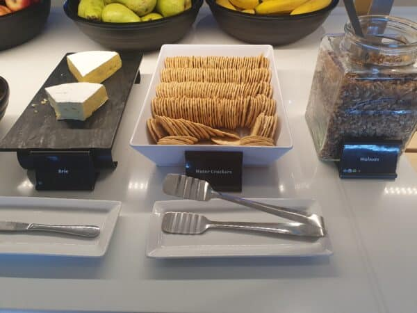 Cheese and Water Crackers in Air NZ lounge in Auckland