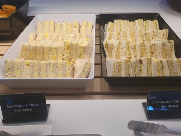 Sandwiches in Air NZ lounge in Auckland