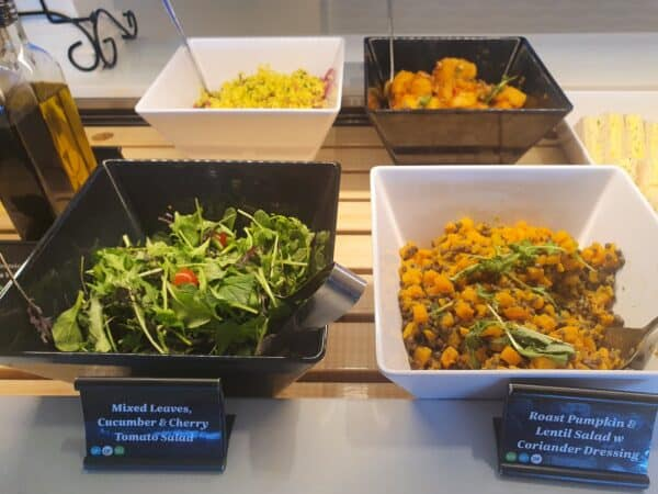 Salad in Air NZ lounge in Auckland